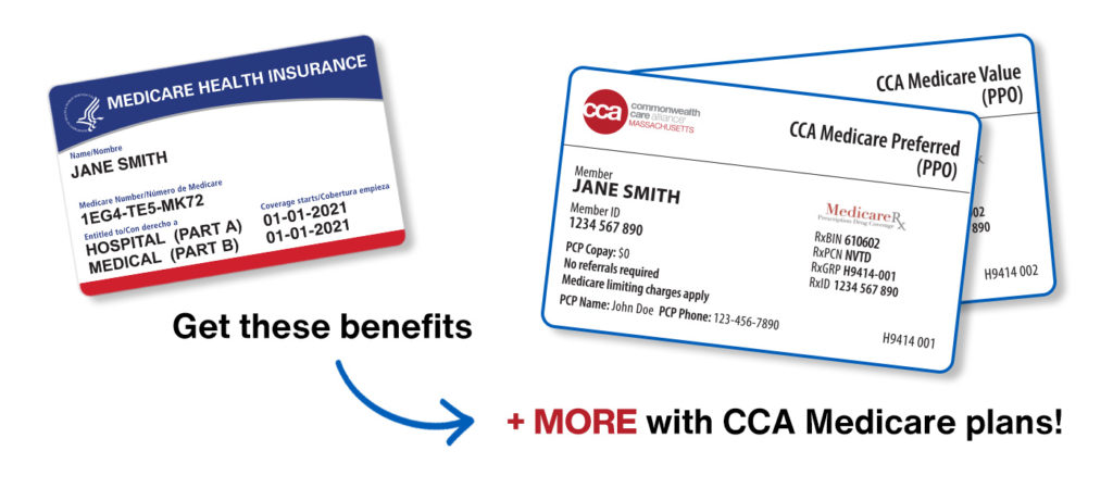 """Medicare card alongside CCA membership cards with text """"Get these benefits + MORE with CCA Medicare plans!"""""""